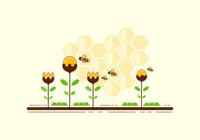 Calabrone Cartoon sopra il vettore di fiori