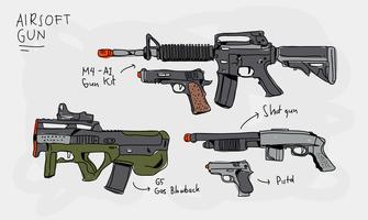 Illustrazione disegnata a mano di vettore dell'accumulazione della pistola di Airsoft