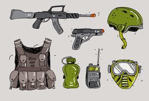 Illustrazione disegnata a mano di vettore del corredo della pistola di Airsoft