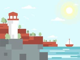 Vettore piano dell'illustrazione del paesaggio del faro della spiaggia di paradiso della baia