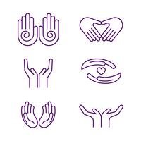 Vettore gratuito dell'icona delle mani di guarigione