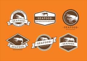 Vettore di logo del ristorante dei frutti di mare del gamberetto