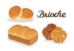 Panino e focaccina di pane alla brioche francese vettore
