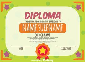 Vettore del certificato del diploma dei bambini di verde