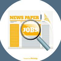 Giornale con illustrazione di ricerca di lavoro vettore