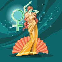 Nascita della dea greca Afrodite vettore