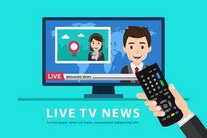 Tenendo il telecomando e guardando le notizie in TV vettore