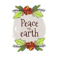 Carino Natale foglie e bacche con acquerello macchia e citazione di Natale vettore