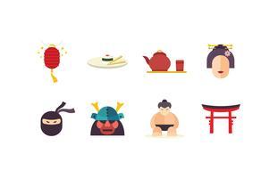 pacchetto di icone piatte Giappone vettore