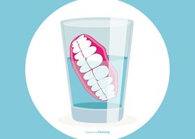Protesi dentarie nell'illustrazione del bicchiere d'acqua vettore