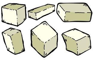Insieme dell'illustrazione di stile del fumetto del formaggio del tofu di vettore
