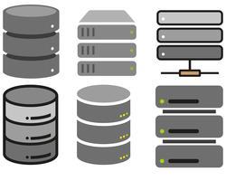 Icone di database piatte vettoriali