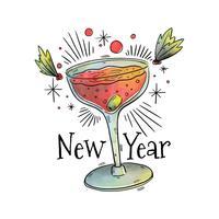 Vettore del cocktail di nuovo anno