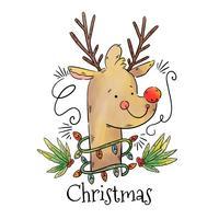 Rudolph il vettore di renna dal naso rosso