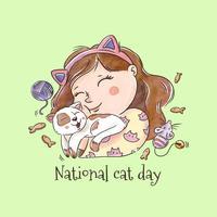 Cute Girl Smiling Abbracciare un gatto per National Cat Day vettore