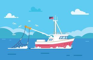Pesca Trawler In The Sea vettore