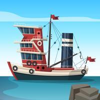 Illustrazione piana di vettore rosso della barca di Tawler