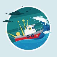 Trawler sull'illustrazione del mare