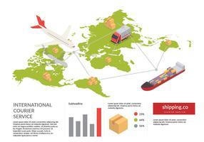 Vettore libero isometrico di spedizione della mappa globale