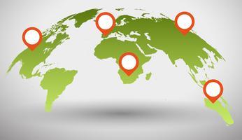 vettore verde 3d mappa del mondo globale