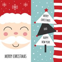 Set di cartoline d'auguri di Babbo Natale e albero di Natale vettore