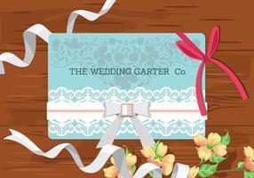 Concetto di matrimonio Accessori da sposa su fondo in legno. Invito a nozze con giarrettiera vettore