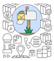 Elementi vettoriali di servizio postale gratuito