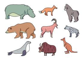 Doodles colorati di animali vettore