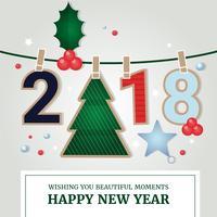 Biglietto di auguri di Capodanno Design piatto vettoriali gratis
