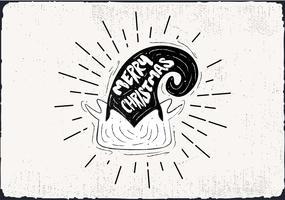 Cartolina d'auguri di vettore disegnato a mano libera cappello elfo
