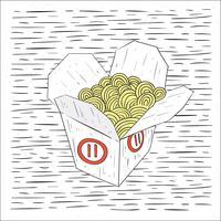 Illustrazione di cibo cinese di vettore disegnato a mano libera