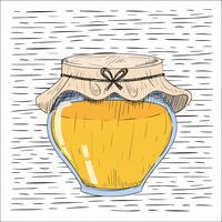 Illustrazione disegnata a mano libera del barattolo del miele di vettore