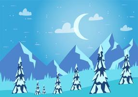 Illustrazione di paesaggio invernale vettoriale disegnato a mano libera