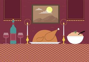 Illustrazione di cena di vettore disegnato a mano libera