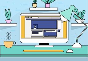 Illustrazione del desktop vettoriale Design piatto