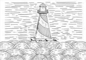 Illustrazione del faro di vettore disegnato a mano libera