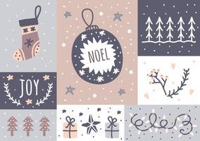 Christmas Card e Sticker Set vettore