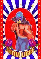 Carattere di lottatore messicano vettore