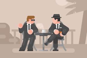 Retro uomini nell'illustrazione di conversazione