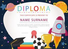 Certificato di diploma per bambini vettore