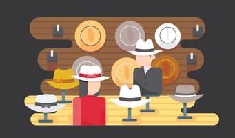 La gente con il vettore dei cappelli di Panama