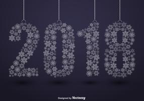 2018 illustrazione di felice anno nuovo e fiocchi di neve
