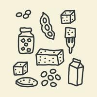 Doodles su proteine vegetali vettore