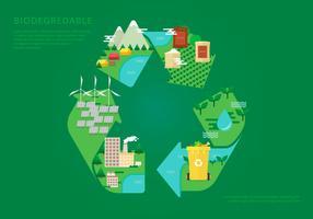Illustrazione piana biodegradabile vettore