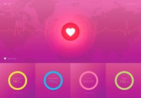 Monitor del ritmo cardiaco, illustrazione medica di cardio.