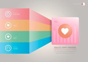 Monitor del ritmo cardiaco, illustrazione medica di cardio. Ritmo cardiaco infografica.