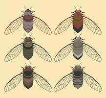 Insetto della cicala con la raccolta gialla di vettore del fondo