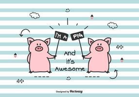 illustrazione vettoriale di maiali di doodle