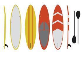 Set vettoriale piatto paddleboard