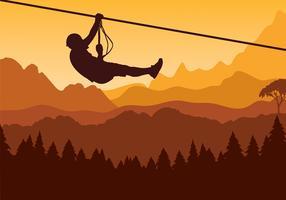 Vettore libero del pino di Zipline della montagna